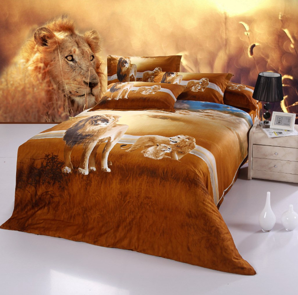 Top Grade yellow lion south america wild style reactive printing 3D bedding set/quilt cover set -Bang's Textile(China (Mainland))