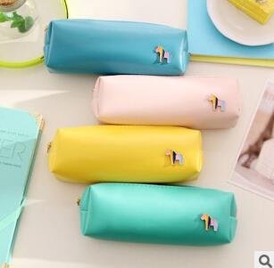 Fresh Style Candy Color Horse PU Leather Pencil Case Stationery Storage Bag Escalar Papelaria Escolar School Supplies(China (Mainland))