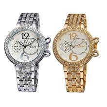 Wh305 de lujo de moda de la personalidad doble sub-diales diales Set taladro QuartzLady de pulsera de cuarzo