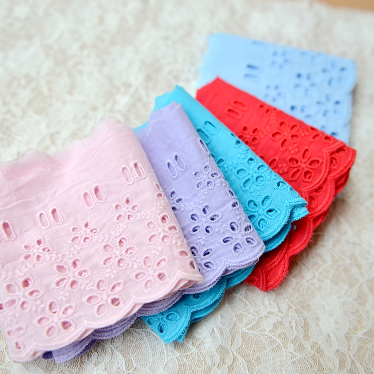 Wholesale Price 10meters/Lot 9.5cm Cotton Candy Color Lace Cloth Hollow Out Flower Embroidered Trimming Lace Tape, Free Shipping(China (Mainland))