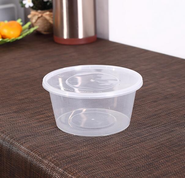 50pcs for750ml High-grade disposable transparent round fruit packaging box band cover lunch soup box can microwave heating(China (Mainland))