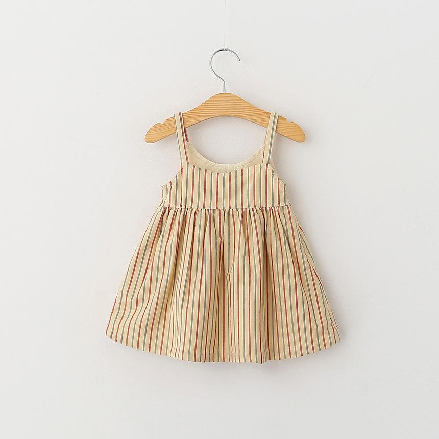 2016 Spring New Kids Girls Stripes Halter Dress Beige and Blue Color Spring Fall Casual Party Dress 5pcs/lot Wholesale<br><br>Aliexpress