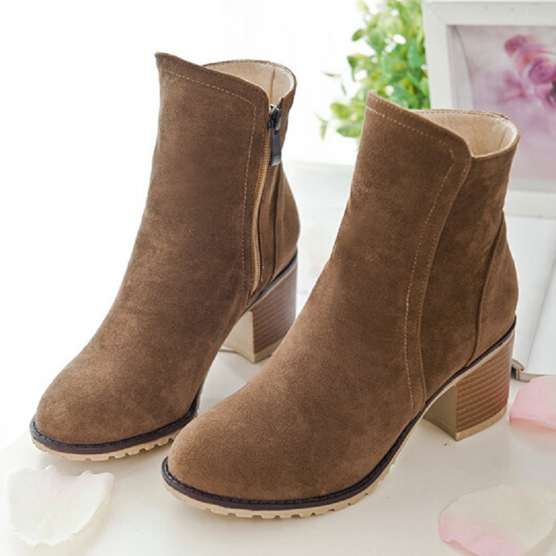 Fashion British Style Round Toe Womens Suede Side Zipper Ankle Boots Shoes For Women Girl Comfortable Martin Boots Big Size 43<br><br>Aliexpress