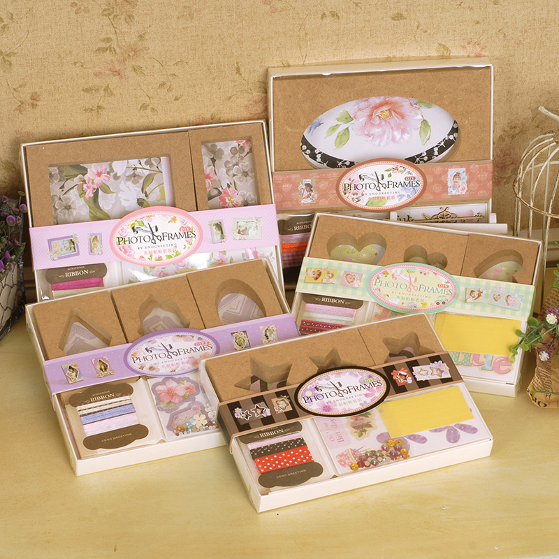 Creative wood photo frames kit gift desk mini decorating for Picture frame decorating ideas for kids