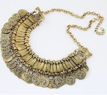 Fashion Boho Gypsy Ethnic Necklace Vintage Gold Silve Plated Coins Pendant Jewelry Statement Colares Femininos Women