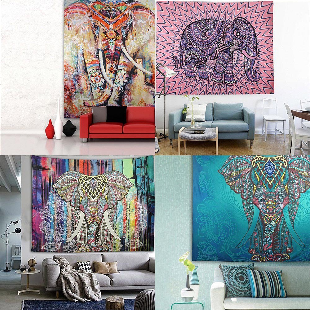 21 Designs Choose Elephant Tapestry Colored Printed