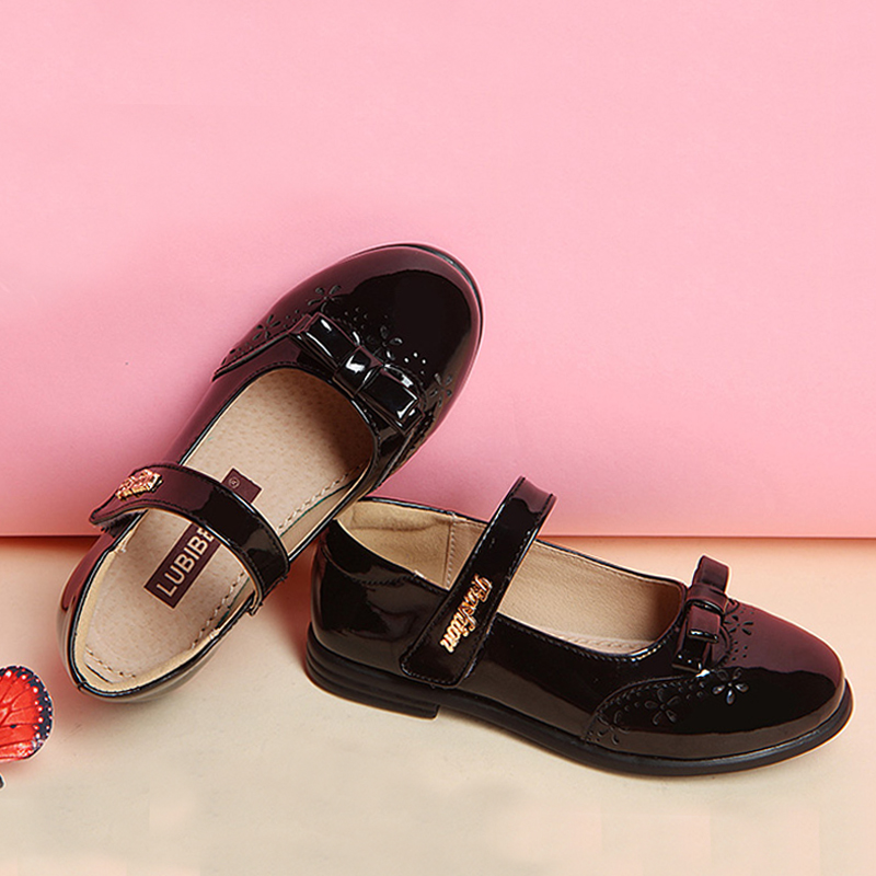 children girls princess shoes kids girl leather shoes girls dress students shoes models bowknot princess shoes(China (Mainland))