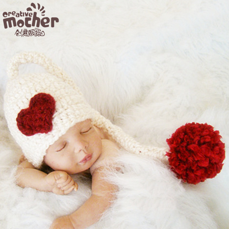 Newborn Knit Hats Photography Baby Beanie Cap Crochet Red Heart Long Tails Winter Lovely Cute Baby Photo Props Girls Boys 2016(China (Mainland))