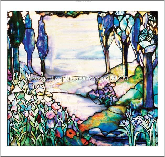 Decorative Stained Glass Window New Hand Painted Canvas