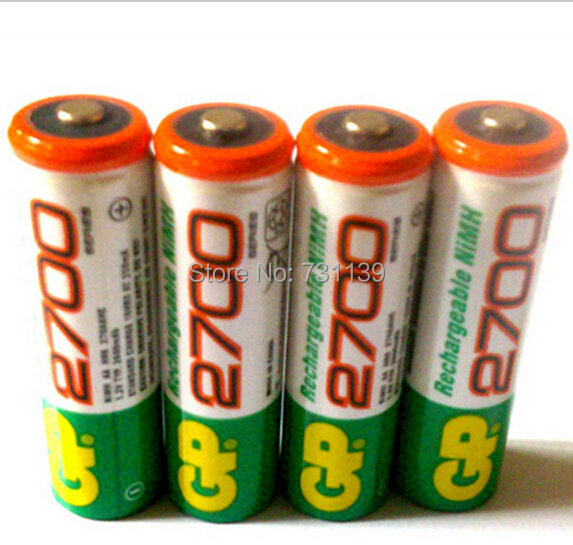 Brand New 4pcs Lot GP 1 2V NiMh AA 2700 mAh 14500 Battery Rechargeable AA Batteries