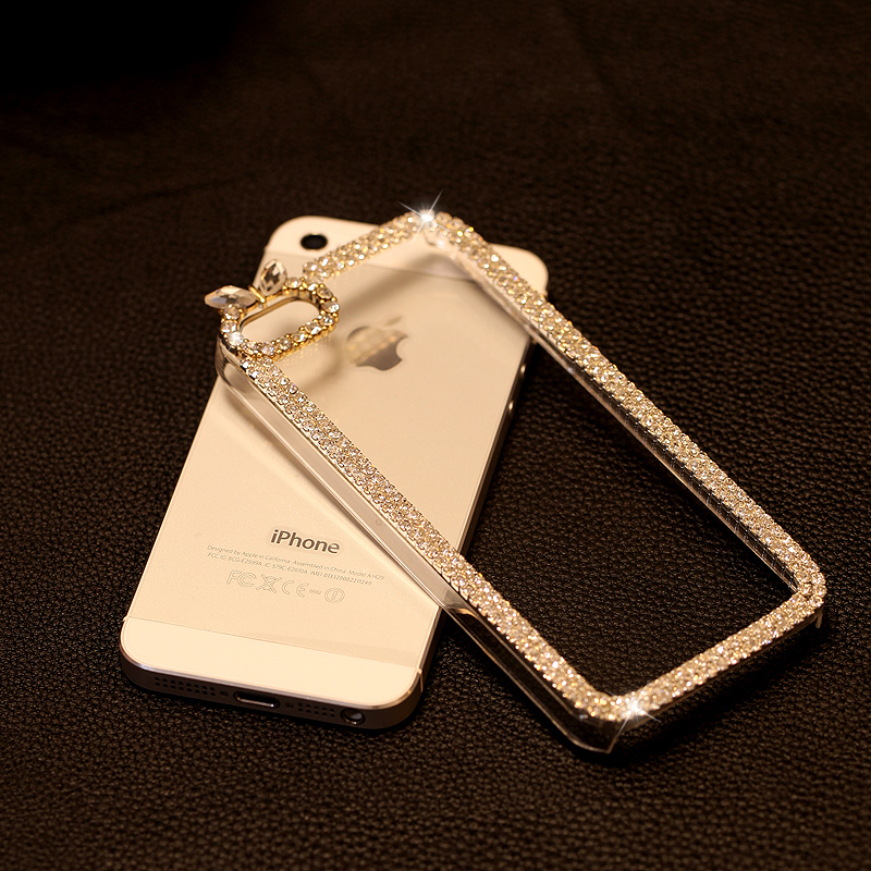 Rhinestone covers cell phones bling crystal rhinestone case for iphone 4 4s transparent back cover case(China (Mainland))