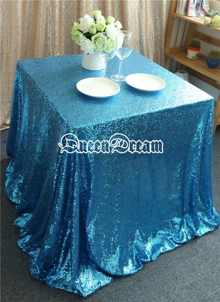 125x125cm Aqua Blue Wedding tablecloth Aqua Blue Bridal Head Table Aqua Blue reception tablecloth(China (Mainland))