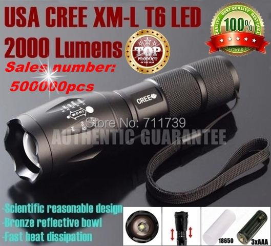 USA EU Hot Sell E17 CREE XM-L T6 led 2000LM Aluminum Zoom flashlights torches light lamps for AAA or 18650 Rechargeable battery(China (Mainland))