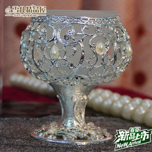 New European style creative single candle candle table wedding decoration Candle Holder Silver candle holder with diamond(China (Mainland))
