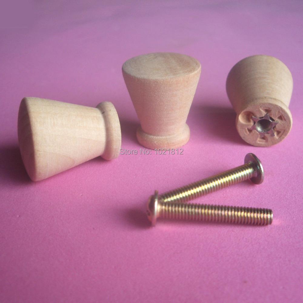 30pcs 21mm Wooden Cabinet Knobs Handles Pulls Cupboard Closet Drawer Knob Fur