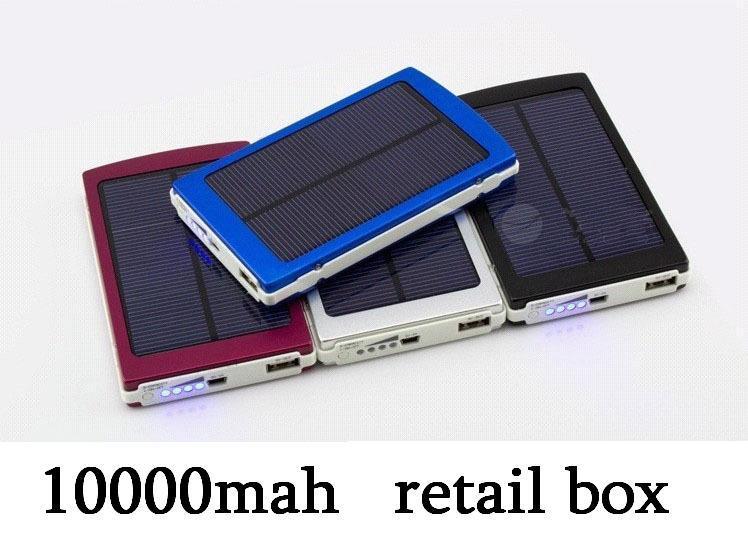 20pcs/lot newest solar power bank 10000mah solar portable backup external battery charger charger baby(China (Mainland))