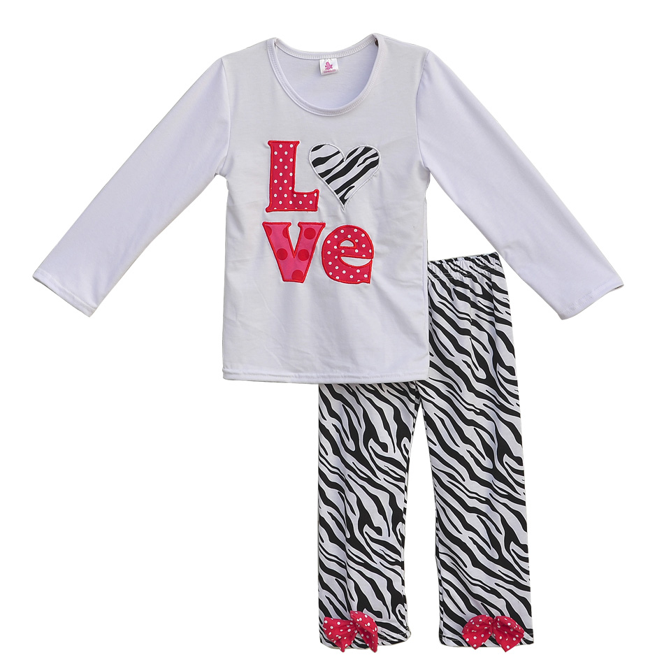 Hot Sale Girls Valentine's Day Clothing Sets Letters Full Sleeve Top Zebra Stripes Pants Ruffled Children Spring Stes V020(China (Mainland))