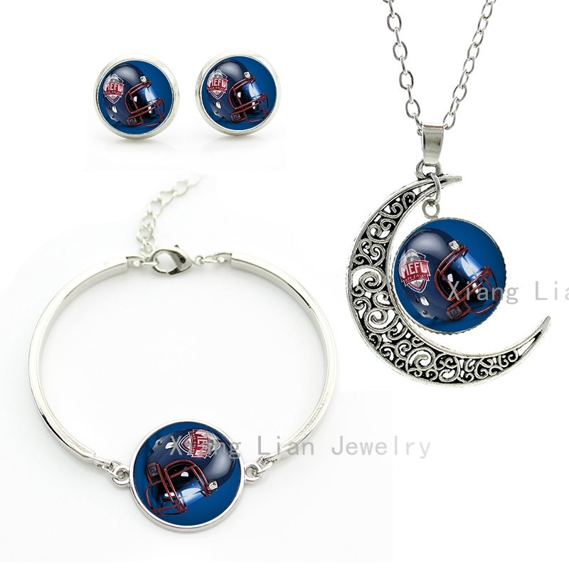 Silver Plated handmade Rugby helmet jewelry cool american football team sports style women necklace earrings bracelet set NF025(China (Mainland))