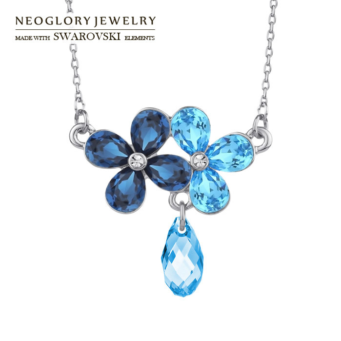 Neoglory Jewelry 2012 fashion women necklace jewelry with swarovski element rhinestone three flowers new arrival<br><br>Aliexpress