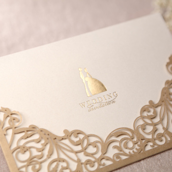 Gorgeous Lace Cut-out Free Personalized & Customized Printing Wedding Invitations Cards Custom In Gold (Set of 50) Free Shipping