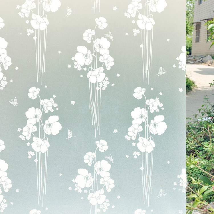45x300cm PVC Home Frosted Sticker Glass film Privacy white butterfly Flower Removeable Window Cling Film switchable Frosted(China (Mainland))