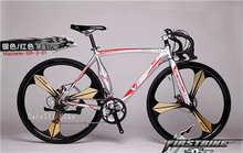 "New!!!! Hot 14 Speeds 700C Bicicleta 3 Spokes Wheels Road Bicycle Aluminium Alloy Fat Bicycle Road Bike Can upgrade 54"" Frame(China (Mainland))"