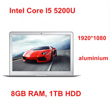 "13.3"" ultrabook laptop computer Core I5 5200U & 8GB RAM  1TB HDD, 1920*1080 HD screen Graphics HD 5500 notebook copmuter(China (Mainland))"