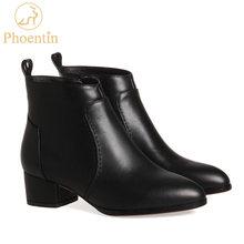 Phoentin kadın deri çizmeler inek derisi yarım çizmeler bayanlar orta yüksek topuk 4 cm sivri burun fermuar kapatma kadın sonbahar ayakkabı FT213(China)