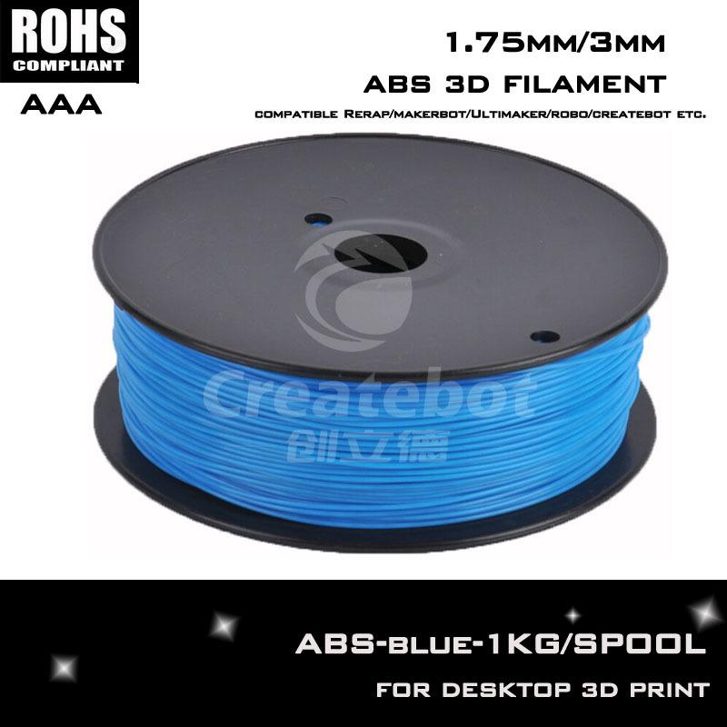 China aliexpress 3d metal printer ABS plastic filament 1.75mm/3mm blue color for createbot,makerbot,reprap 3d printer machine(China (Mainland))