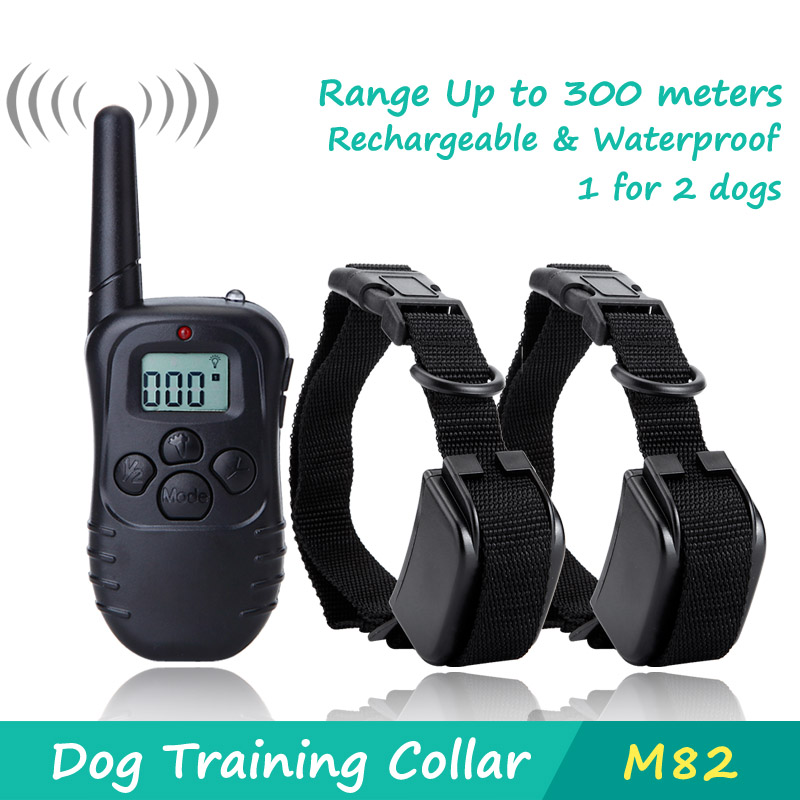 300 Meters Remote Training Rechargeable and Rainproof Dog Training Collar with LCD Screen for 2 dogs 100 Level Shock Electronic(China (Mainland))