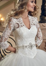 Exquisite V Neck Lace Up Three Quarter Sleeve Court Train Bow Crystal Sequined Lace Ball Gown