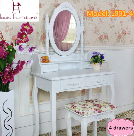 White Ivory colored Queen Anne style dresser Make Up dressing table vanity set with swivel oval mirror and stool(China (Mainland))