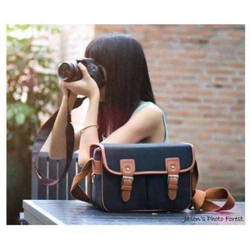 Hate Black Waterproof Vintage Canvas Camera Carry Case Bag Messenger Bag for DSLR Camera and Lens Canon 5DII 7D Nikon D90