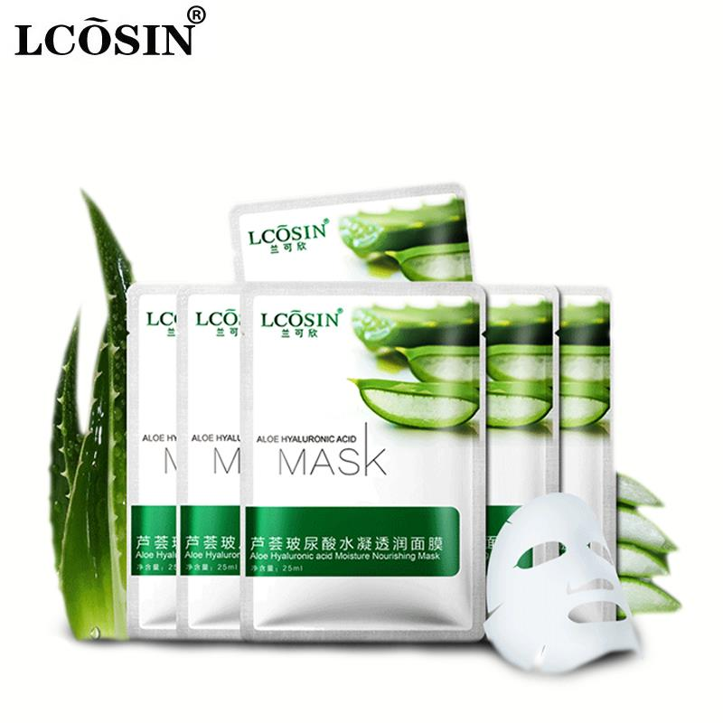 facial mask aloe hyaluronic acid acne cleansing beauty mask face masks sheet cosmetic moist whitening skin care face care brand(China (Mainland))