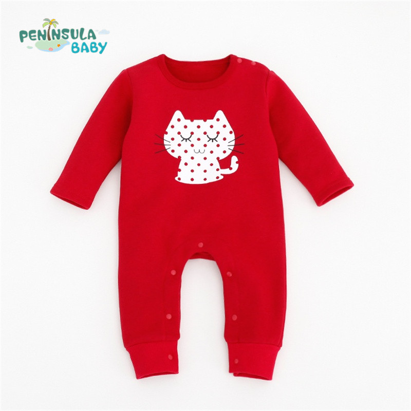 Winter Baby Romper Cartoon Cat Cotton Long Sleeve Girl Clothing New Born Rompers Newborn Boy Clothes recem nascido