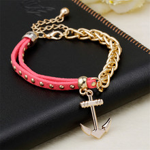 2016 New Arrival Gold Plated Chain Charm Leather Wrap Anchor Bracelet Men pulseira couro masculina pulsera hombre Mens Jewellery
