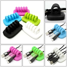 New Multicolor Cord Lead USB Charger Cable Wire Holder Drop Clip Desk Tidy Organiser Organizer (China (Mainland))