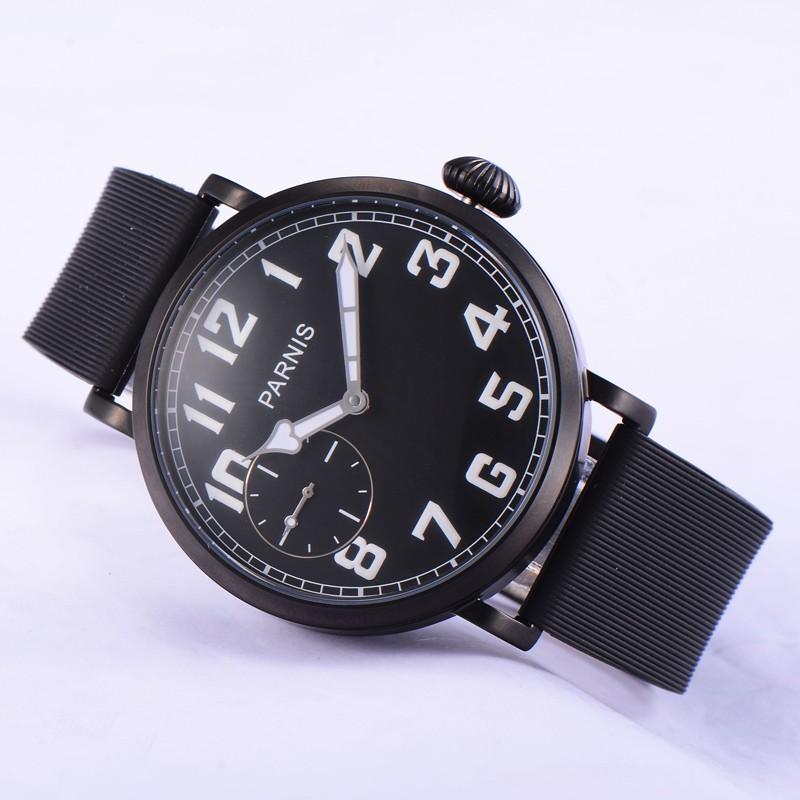 Мода 46 мм Парнис Черное PVD Дело Белый Цифры Ручным Подзаводом Наручные Часы Движение
