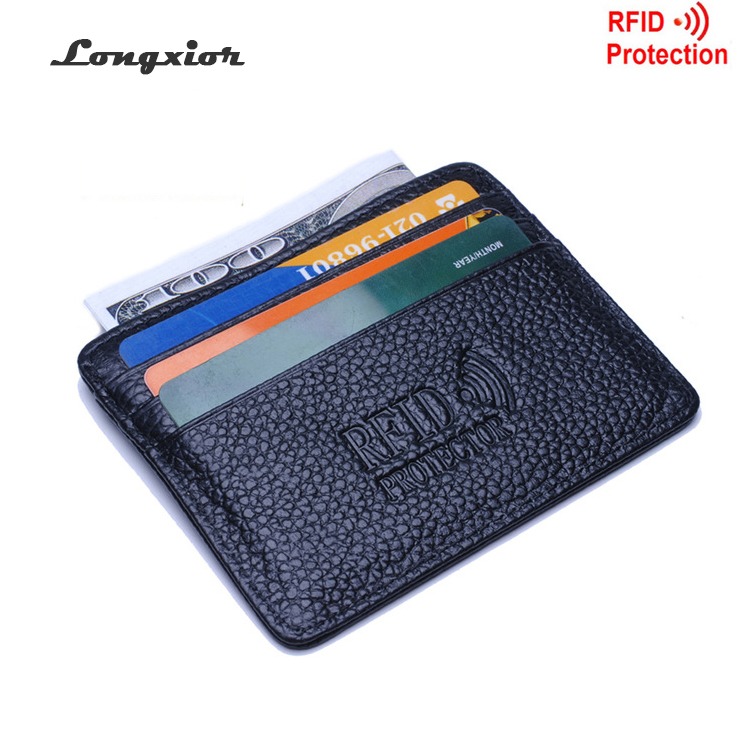 MRF12 RFID Blocking Slim Leather Wallet cow leather Front Pocket Credit Card Case Card Holder With ID Window identity protection(China (Mainland))