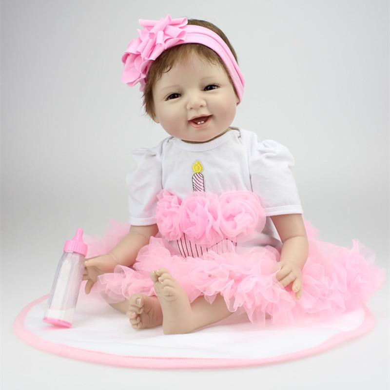 22inch 55cm Reborn Baby Dolls Soft Silicone Lifelike Smile Girl Gift for Children Newborn Lovely Princess Brands Baby Toys