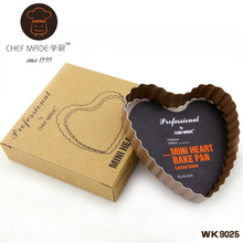High-end WK9025 chefmade mini heart-shaped wave edge live bottom tarts mold pie pan baking mold Kitchen Tools (China (Mainland))