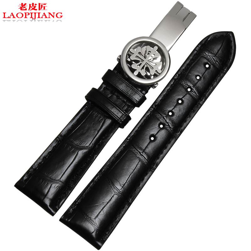 laopijiang Leather Watchband adapter PP super complex function timing Crocodile Leather Watchband 20mm(China (Mainland))