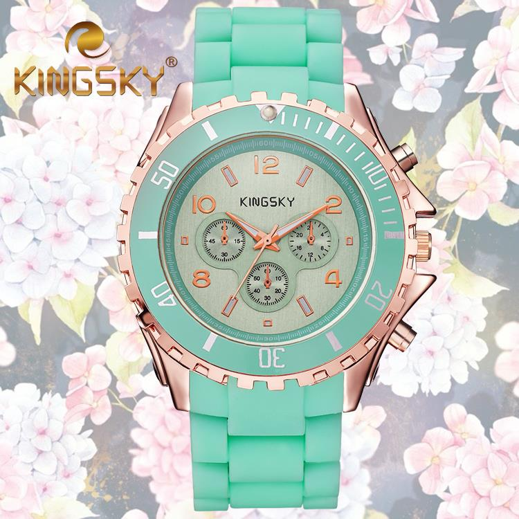 2015 KINGSKY Hot Fresh Summer Beach Green Blue Watch Female Lovely Young Girl Relogio Masculino Art Elegant Wrist Jewelry Chain(China (Mainland))