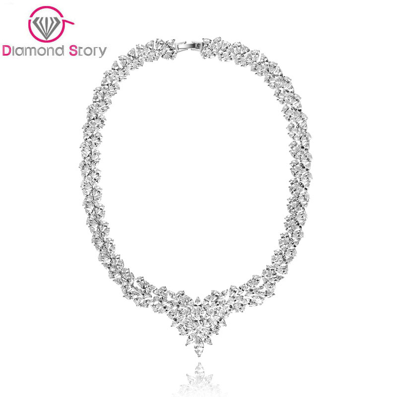 Teemi 2015 Newest Luxurious Big Jewelry Set Rhodium Plated AAA Cubic Zirconia WaterDrop Necklace/ Earrings for Bridal Wedding<br><br>Aliexpress