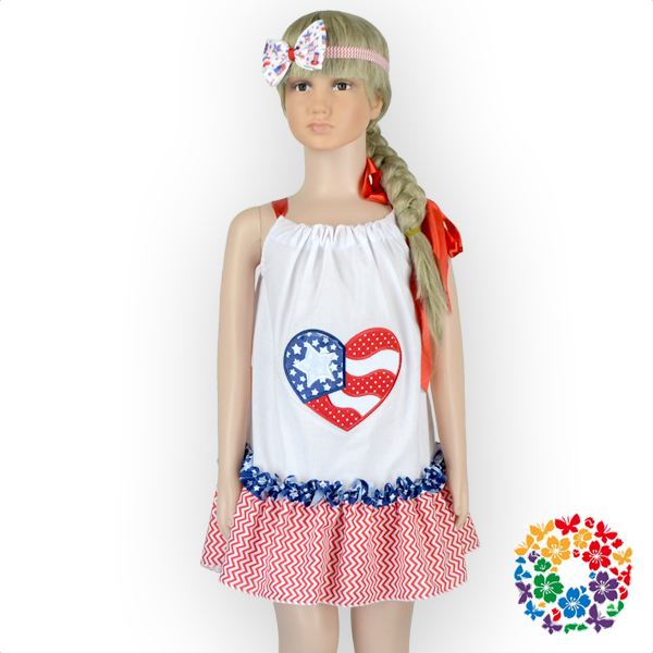 2016 New Model Girl Dress Baby Cotton Ruffle Dress With Headband Flag Pattern Baby Dress Pictures 24sets/lot(China (Mainland))