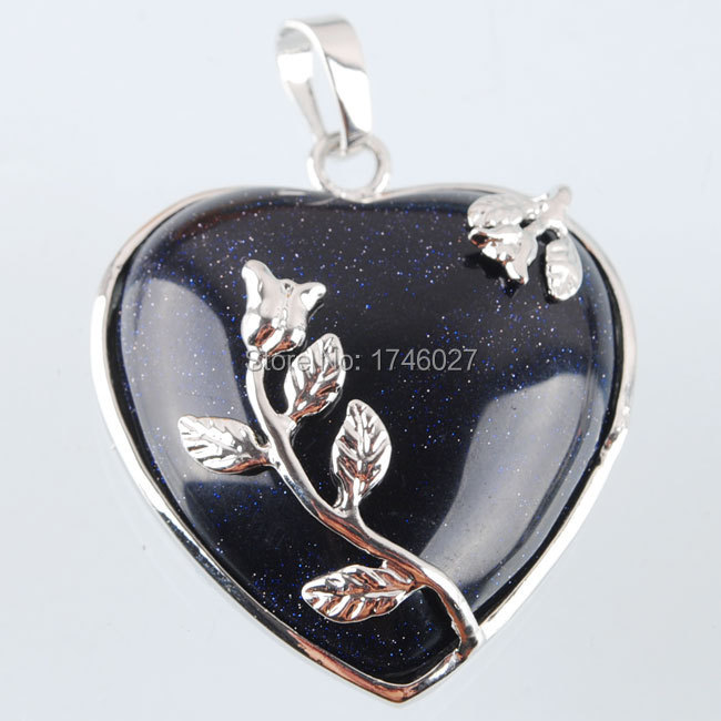 New Arrival Fashion Blue Sand Jewelry Heart Gemstone Synthetic 32mm Bead Pendant Charm YN979(China (Mainland))