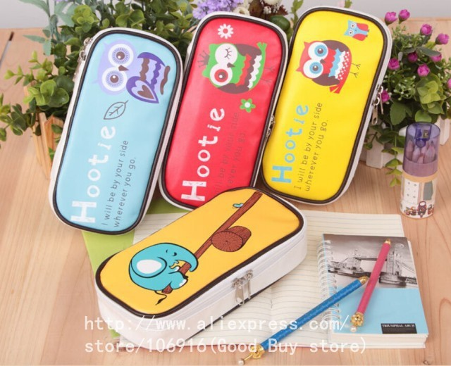 Гаджет  New 4 Colors Unisex PU Cute Owl & Elephant Big Capacity Pencil Bag Cartoon Portable Storage Bag As Gifts For Friends Children None Офисные и Школьные принадлежности