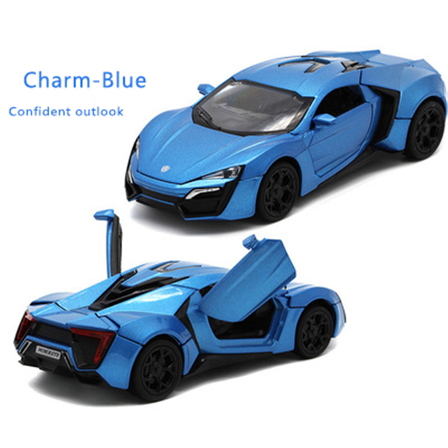 1:32 Fast & Furious Lykan Hypersport kids toys pull back toy cars model voiture miniatures gifts for boys children(China (Mainland))