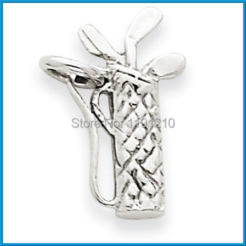2014 free shipping antique silver plated golf bag and ball arm sport charm accessory(China (Mainland))