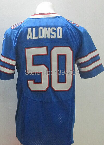 Wholesale-Men's Football Jerseys Kiko Alonso #50 Elite Blue,White, Sports Jersey Size:40~56+Free Shipping,Mix Order(China (Mainland))